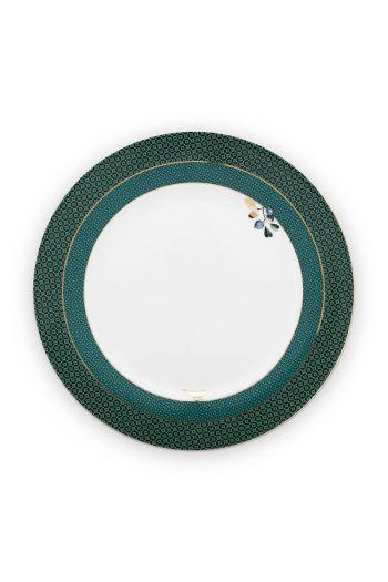 diner-bord-winter-wonderland-van-porselein-met- bloemen-in-groen-26,5-cm