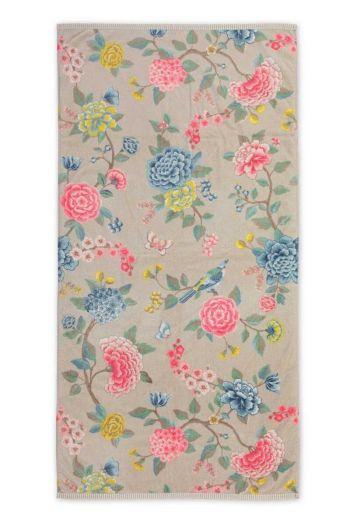 Douchelaken-handdoek-xl-bloemen-khaki-70x140-good-evening-pip-studio-katoen-terry-velour
