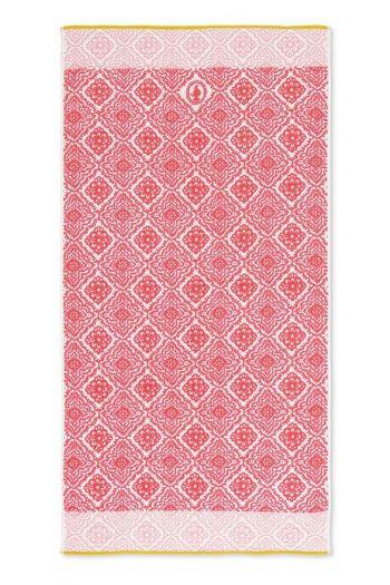 Douchelaken-handdoek-xl-donker-roze-bohemian-70x140-jacquard-check-pip-studio-katoen-terry-velour