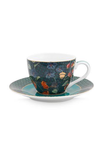 espresso-kop-en-schotel-winter-wonderland-van-porselein-met- bloemen-in-donkerblauw