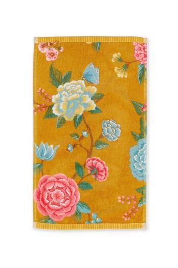 Gastendoek-geel-bloemen-30x50-good-evening-pip-studio-katoen-terry-velour