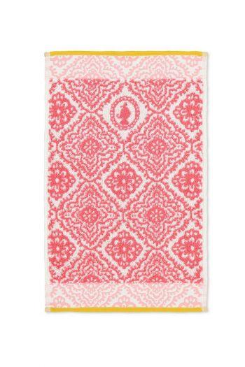 Gastendoek-donker-roze-bloemen-30x50-jacquard-check-pip-studio-katoen-terry-velour