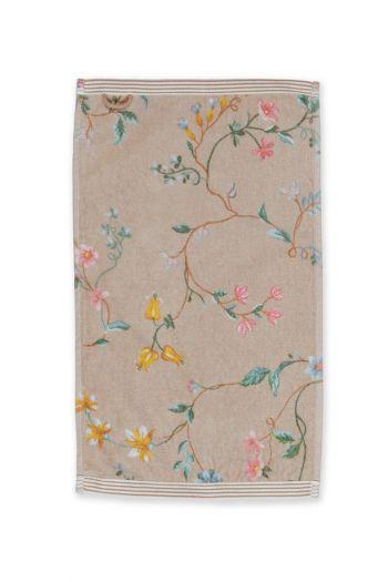 Gastendoek-khaki-bloemen-30x50-les-fleurs-pip-studio-katoen-terry-velour