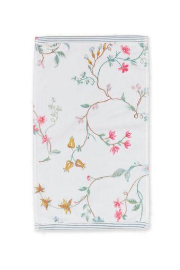 Gastendoek-wit-bloemen-30x50-les-fleurs-pip-studio-katoen-terry-velour
