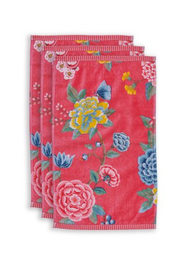Guest-towel-set/3-floral-print-coral-30x50-cm-pip-studio-good-evening-cotton