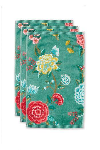 Guest-towel-set/3-floral-print-green-30x50-cm-pip-studio-good-evening-cotton NL