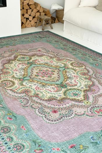vintage-rectangular-majorelle-by-pip-carpets-in-lilac-green-with-flower-details