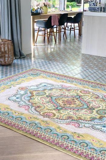 Vloerkleed-tapijt-bohemian-geel-bloemen-majorelle-pip-studio-155x230-200x300