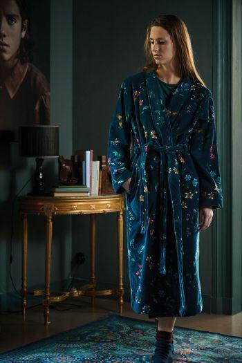 Badjas-bloemen-print-donker-blauw-pip-studio-les-fleurs-katoen