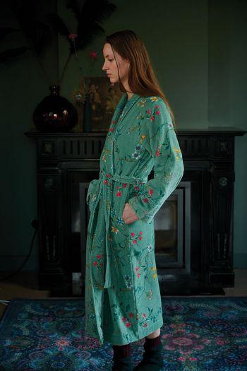 Badjas-bloemen-print-groen-pip-studio-les-fleurs-katoen