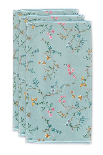 Handdoek-set/3-bloemen-print-blauw-55x100-les-fleurs-katoen