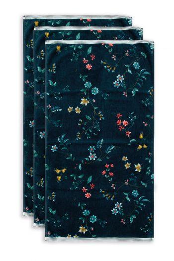 Handtuch-set/3-blumen-drucken-dunkel-blau-55x100-les-fleurs-baumwolle