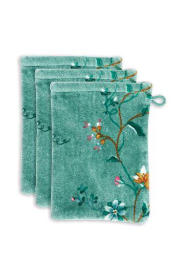 washandje-set/3-bloemen-print-groen-16x22-les-fleurs-katoen
