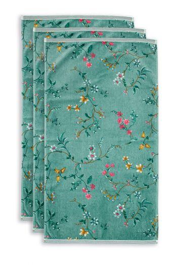 Handdoek-set/3-bloemen-print-groen-55x100-les-fleurs-katoen