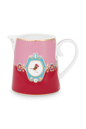 melk-kan-love-birds-klein-in-rood-en-roze-met-vogel