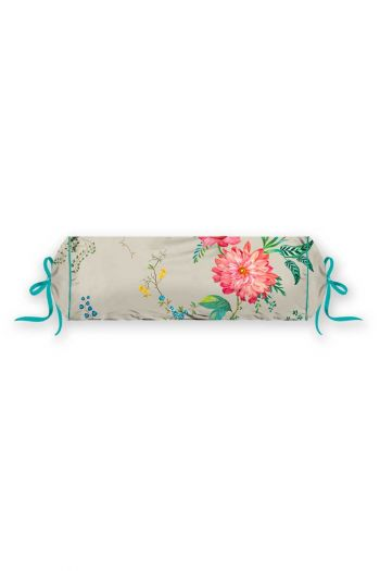 kussen-khaki-bloemen-rolkussen-sierkussen-fleur-grandeur-studio-22x70-katoen