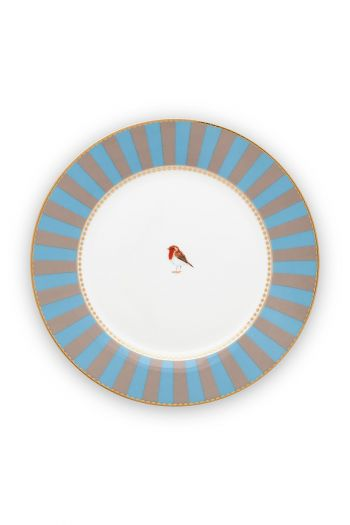 ontbijt-bord-love-birds-in-blauw-en-khaki-met-volgel-21-cm
