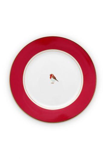 ontbijt-bordje-21-cm-rood-gouden-details-love-birds-pip-studio