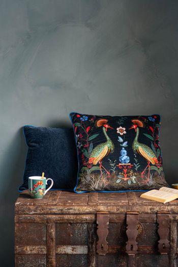 Cushion-set-dark-blue-botanical-print-decorative-cushions-velvet-birds-in-love-quilted-pip-studio
