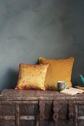 Kussen-set-geel-bloemen-print-sierkussens-fluweel-zijde-petites-fleurs-quilted-pip-studio