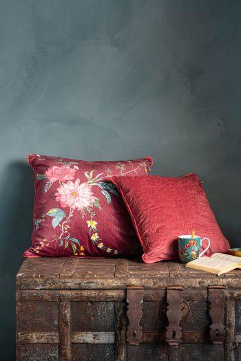 Kussen-set-rood-bloemen-print-sierkussens-fluweel-zijde-petites-fleurs-quilted-pip-studio