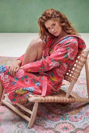 Badjas-koraal-bloemen-good-evening-pip-studio-katoen-terry-velour