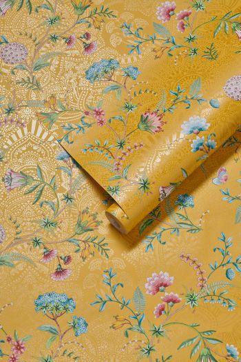 wallpaper-non-woven-vinyl-flowers-yellow-pip-studio-la-majorelle