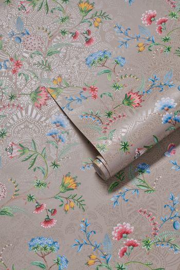 behang-vlies-behang-glad-bloemen-print-khaki-pip-studio-la-majorelle
