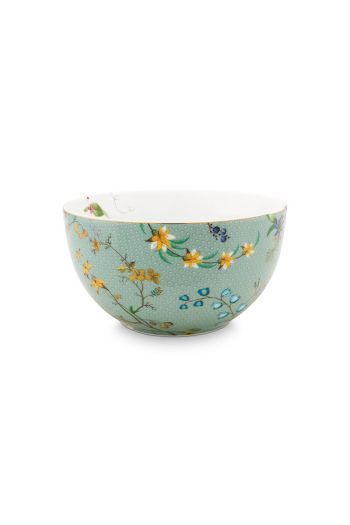porselein-bowl-jolie-flowers-blauw-12-cm-6/36-geel-paars-pip-studio-51.003.168