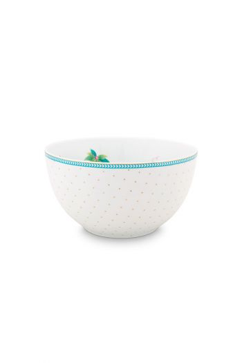porselein-bowl-jolie-flowers-dots-gold-15-cm-6/24-wit-pip-studio-51.003.169
