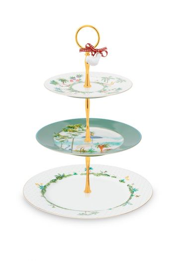 porcelain-cake-stand-3/layers-jolie-17-21-26.5-cm-1/6-pip-studio-green-white-flowers-51.018.107