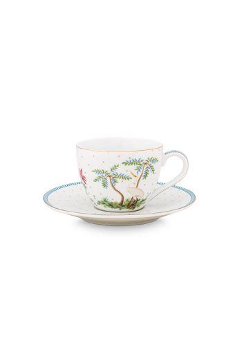 porcelain-cup-&-saucer-jolie-dots-gold-280-ml-6/24-white-blue-trees-bs-51.004.117