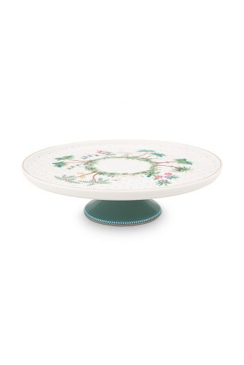 porcelain-mini-cake-tray-jolie-dots-gold-21-cm-1/8-white-green-flowers-pip-studio-51.018.108