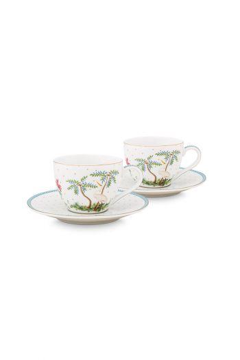 porcelain-set/2-espresso-cups-&-saucers-jolie-dots-gold—280-ml-1/12-blue-white-flowers-51.004.119