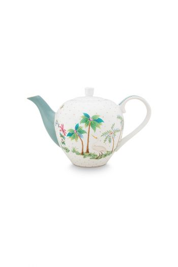 porcelain-tea-pot-small-jolie-dots-gold-750-ml-1/8-blue-palmtree-flower-51.005.059