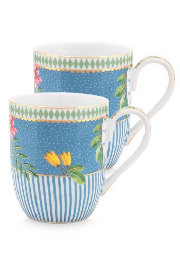 set-2-mok-klein-la-majorelle-van-porselein-met-bloemen-in-blauw