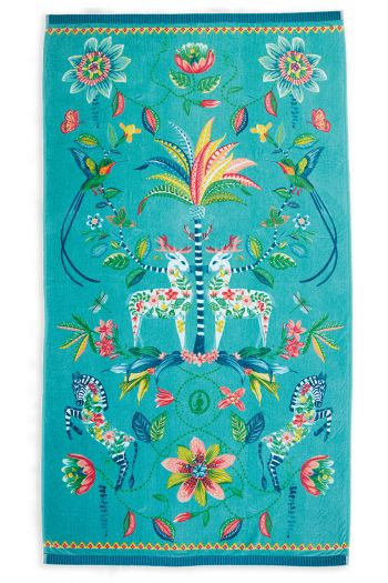Beach-towel-blue-floral-100x180-curio-pip-studio-cotton-terry-velour