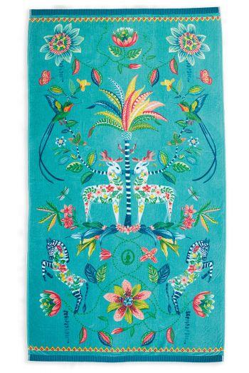 Strandlaken-blauw-bloemen-100x180-curio-pip-studio-katoen-terry-velour