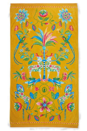 Beach-towel-yellow-floral-100x180-curio-pip-studio-cotton-terry-velour