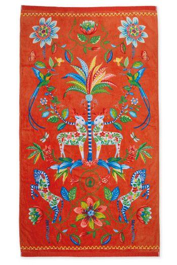 Strandlaken-oranje-bloemen-100x180-curio-pip-studio-katoen-terry-velour
