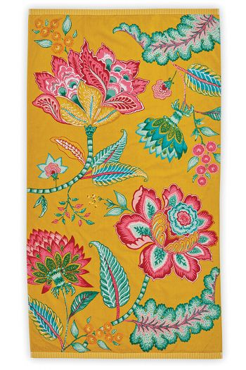 Beach-towel-yellow-floral-100x180-jambo-flower-pip-studio-cotton-terry-velour