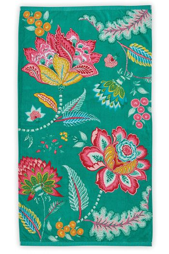 Beach-towel-green-floral-100x180-jambo-flower-pip-studio-cotton-terry-velour
