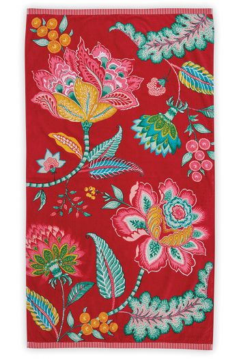Beach-towel-red-floral-100x180-jambo-flower-pip-studio-cotton-terry-velour