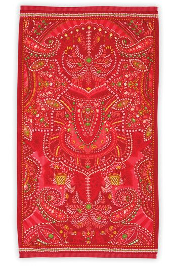 Beach-towel-red-floral-100x180-sunrise-pip-studio-cotton-terry-velour