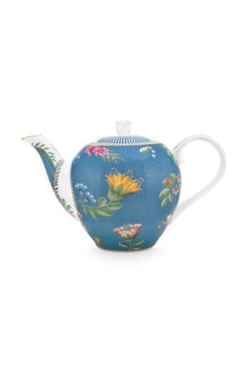 theepot-klein-la-majorelle-van-porselein-met-bloemen-in-blauw