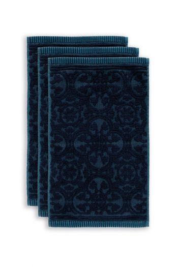 gasten-doekje-set/3-barok-print-donker-blauw-30x50-tile-de-pip-katoen