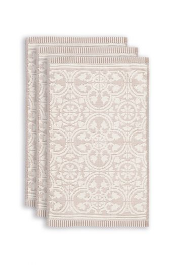 Gäste-tuche-set/3-barock-drucken-khaki-30x50-tile-de-pip-baumwolle