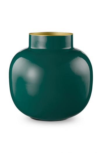 Vase-round-dark-green-metal-pip-studio-25-cm