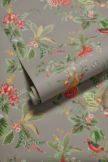wallpaper-non-woven-vinyl-flowers-khaki-pip-studio-floris