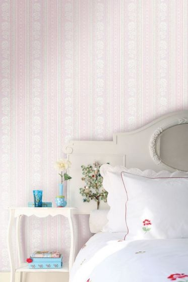 Pearls and Lace wallpower pink